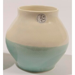 "6"" L'Eau de Fleur Hand-Made Mint Green and White Ceramic Vase"