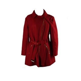 Michael Michael Kors Petite Red Asymmetrical-Zip Belted Coat PXXL
