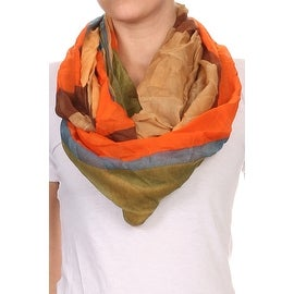 Color Block Wide Infinity Scarf Lightweight