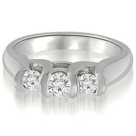 1.00 cttw. 14K White Gold Three-Stone Bezel Round Cut Diamond Engagement Ring