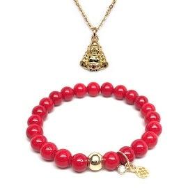 "Red Jade 7"" Bracelet & CZ Buddha Gold Charm Necklace Set"