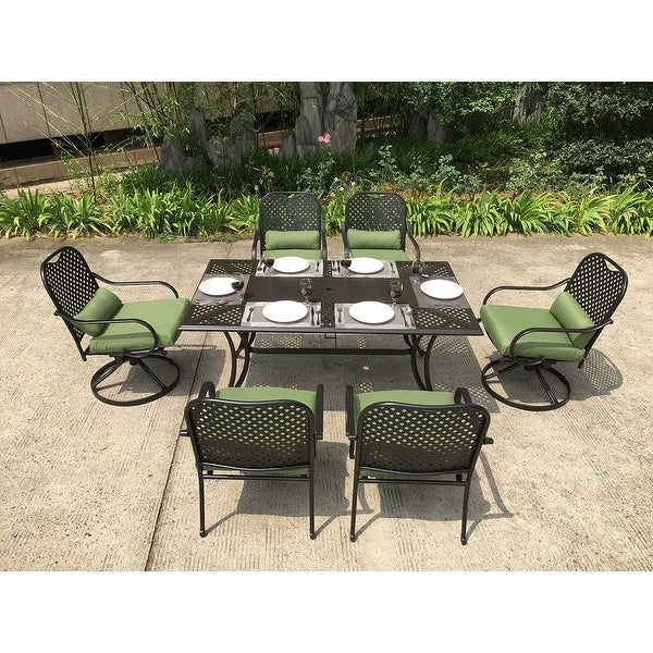 Moda Outdoor 7-piece All-weather Steel Dining Set with Swivel Chairs. Opens flyout.