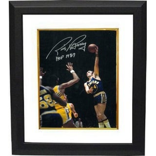 Signed Rick Barry signed Golden State Warriors 16x20 Photo HOF 1987 Custom Framed hookshot Rick Bar