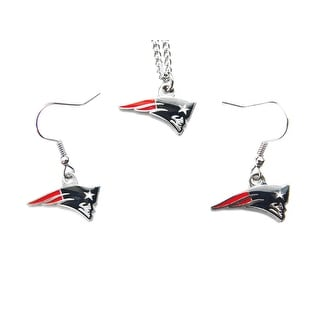 New England Patriots Necklace and Dangle Earring Charm Set