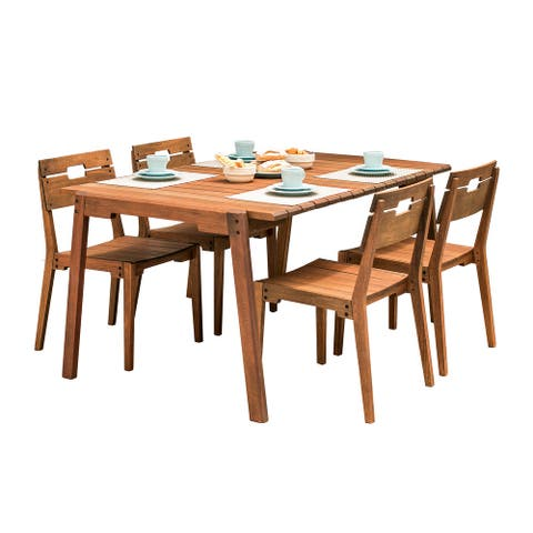 Marcelino 5-piece Eucalyptus Wood Outdoor Dining Set by Havenside Home