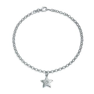Bling Jewelry Patriotic CZ Modern Star Charm Sterling Silver Anklet 10in