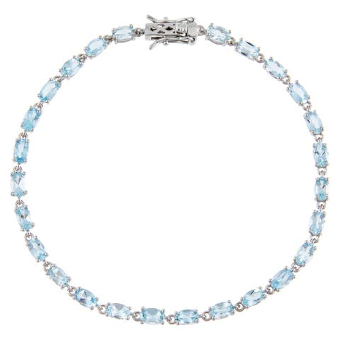 Oval-Cut Aquamarine Gemstone Tennis Bracelet, Sterling Silver