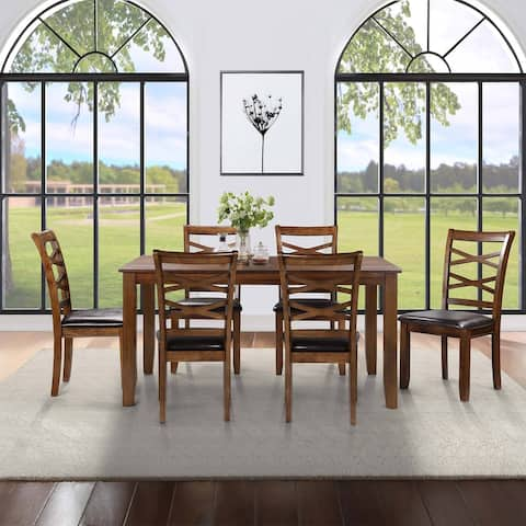 Rectangle Bar & Table Sets with 7-piece Rubber Wood Dining Chairs for Living Room