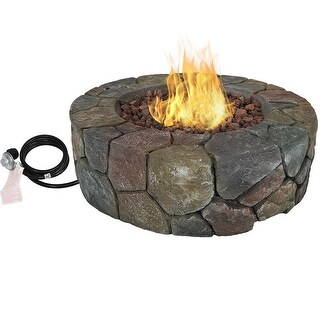 Sunnydaze 30 Inch Cast Stone Propane Gas Fire Pit with Lava Rocks