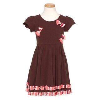 Brown Bow Stripe Short Sleeve Lettuce Edge Dress Girl 2T-6X