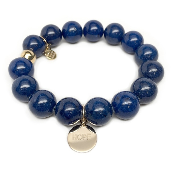 "Blue Jade Hope Gold Charm Lauren 7"" Bracelet"