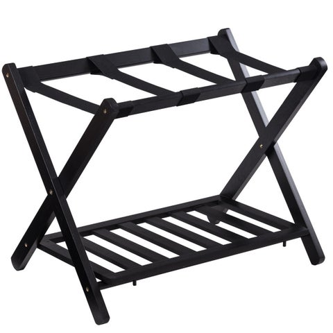 Costway Set of 3 Folding Luggage Rack with Shelf Travel Suitcase Shoe Storage Holder