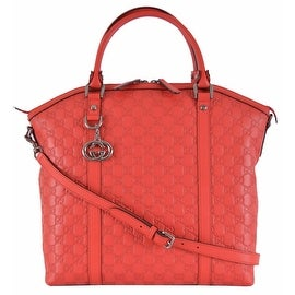 Gucci 339551 Coral Red Leather GG Guccissima Convertible Large Dome Purse