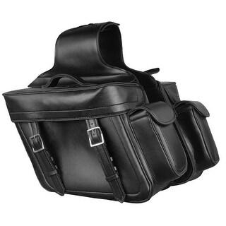 Leather Look Motorcycle Saddle Bag Set 14X12X6X21