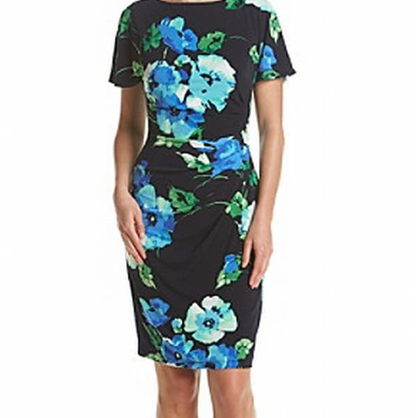 60eef2c7c2985 Shop Jessica Howard NEW Black Blue Womens 14 Floral Faux-Wrap Sheath Dress  - Free Shipping On Orders Over $45 - Overstock - 20003339