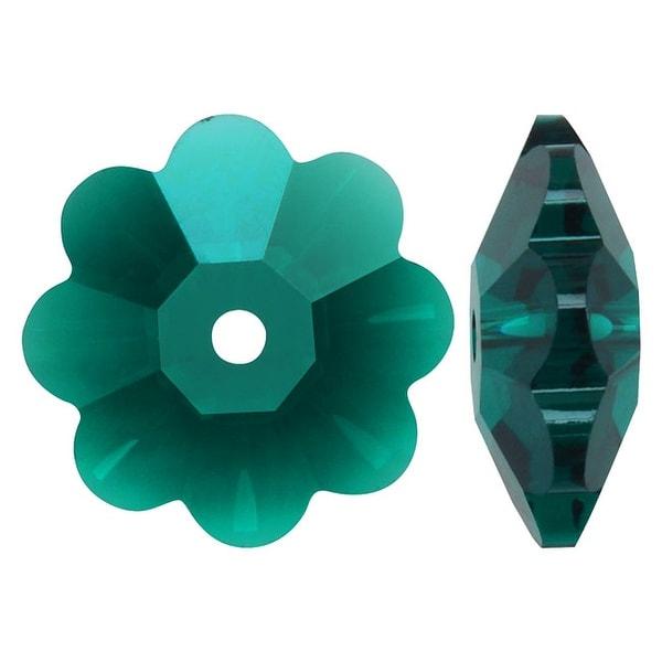 Swarovski Crystal, 3700 Flower Margarita Beads 12mm, 4 Pieces, Emerald