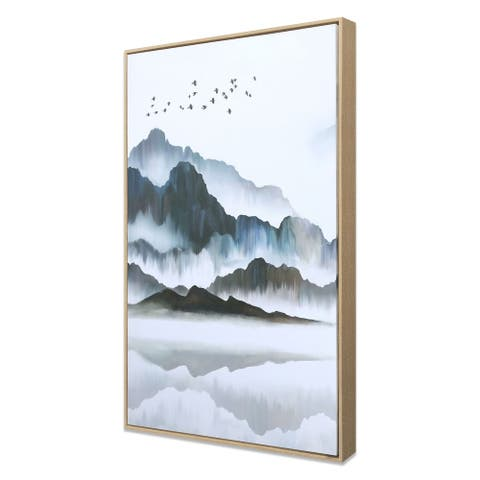 Misty Mountain and Misty Lagoon, Hand Painted Giclee