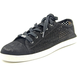 Delman Magie Women Round Toe Leather Black Sneakers