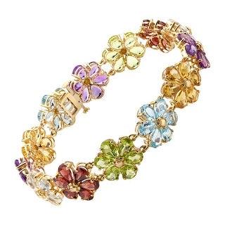 30 ct Natural Multi-Stone Flower Bracelet in 14K Gold - Multi-Color
