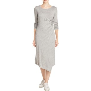 Three Dots Womens T-Shirt Dress Faux Wrap Asymmetric Hem