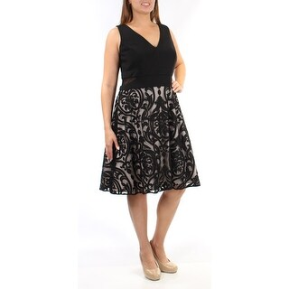 Womens Black Sleeveless Above The Knee Fit + Flare Evening Dress Size: 18W