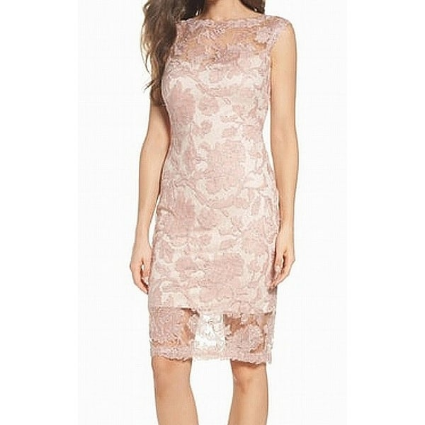 Tadashi Shoji Pink Silver Womens Size 16 Corded Lace Sheath Dress