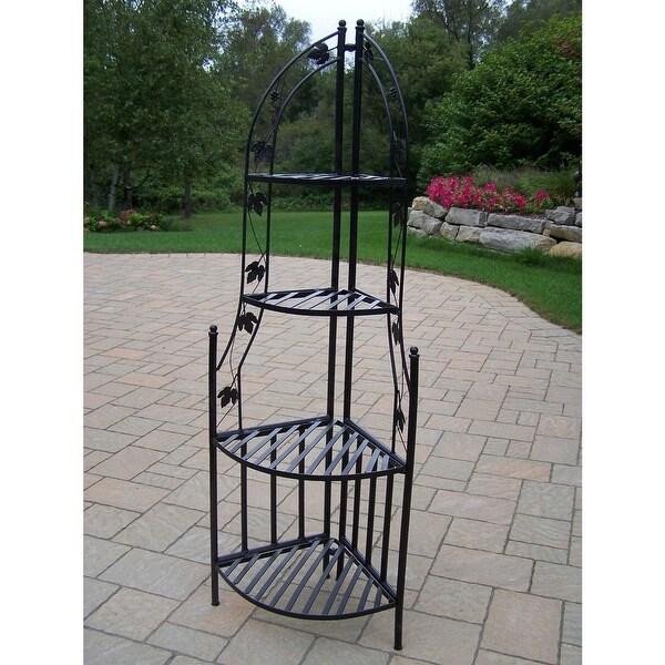 4-Tier Wrought Iron Corner Metal Planter Stand in Black