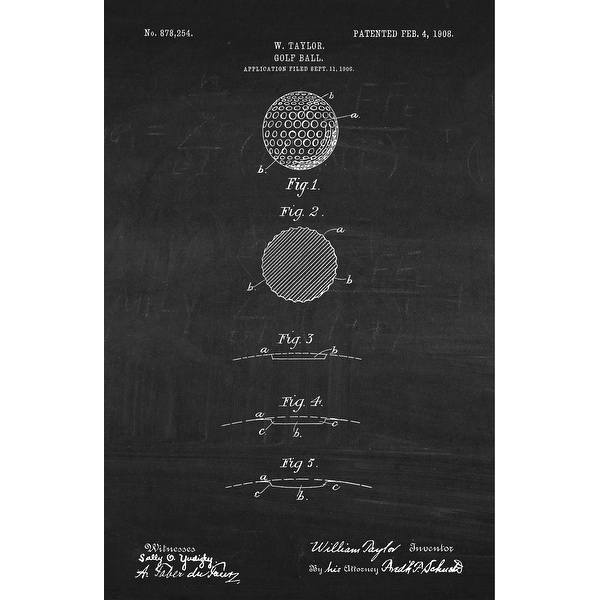 Golf Ball Patent Poster (White on Chalkboard) - Sports Patents - 24x16 Poster