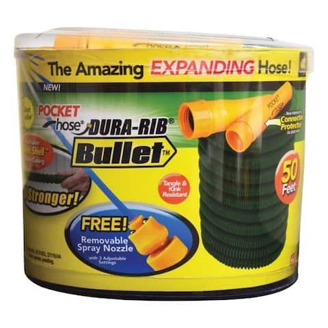 Pocket Hose Dura Rib Expanding Green Nylon Garden Hose - 6.8 x 7.3 x 6.15