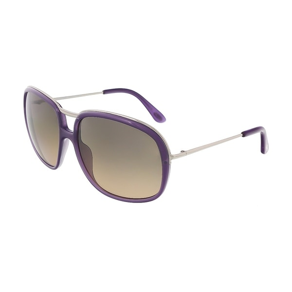Tom Ford TF 282 78B Cori Purple/ Silver Full Rim Rectangular Sunglasses - Purple/Silver - 61-16-130