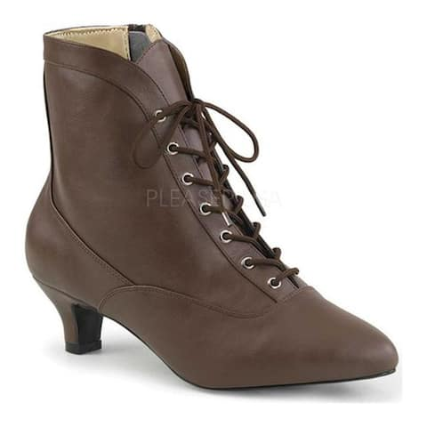 Pleaser Pink Label Women's Fab-1005 Ankle Boot Brown Faux Leather