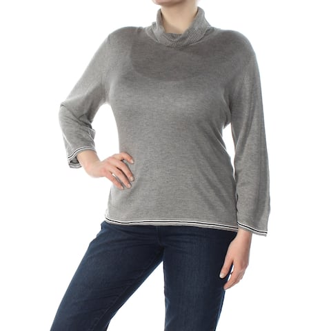 TOMMY HILFIGER Womens Gray Long Sleeve Turtle Neck Sweater Size: XXL