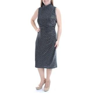 Womens Black Sleeveless Below The Knee Sheath Party Dress Size: 8