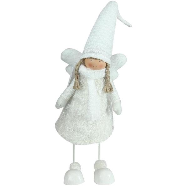 "26.75"" Snowy Woodlands White Bobble Girl Angel Christmas Figure"