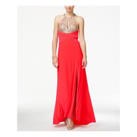 MORGAN & CO Womens Coral Rhinestone Slitted Sleeveless Keyhole Full Length Empire Waist Formal Dress Juniors Size: 3
