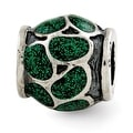 Italian Sterling Silver Reflections Green Enamel with Sparkles Bead - Thumbnail 0