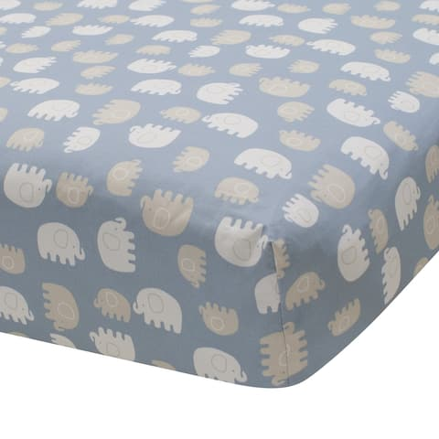 Lambs & Ivy Signature Elephant Tales 100% Cotton Blue/Gray/White Baby Fitted Crib Sheet