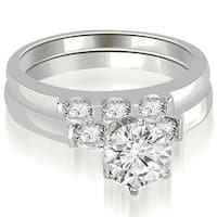 1.25 cttw. 14K White Gold Round Cut Diamond Engagement Bridal Set