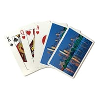 Dallas, Texas - Skyline & Reflection - LP Photo (Poker Playing Cards Deck)