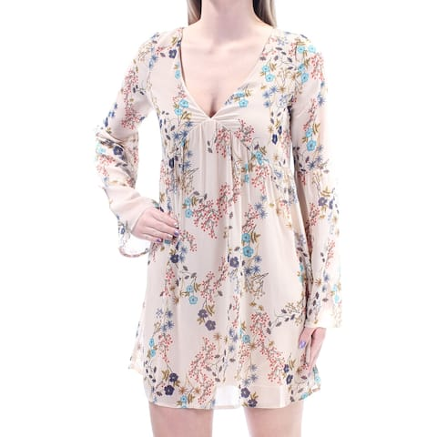 d480ef3cf2b AMERICAN RAG Womens Beige Pleated Low Cut Floral Long Sleeve V Neck Mini  Cocktail Dress Juniors