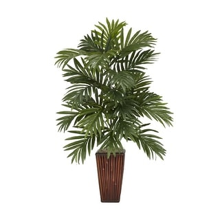 Nearly Natural Areca Palm with Bamboo Vase Silk Plant Green