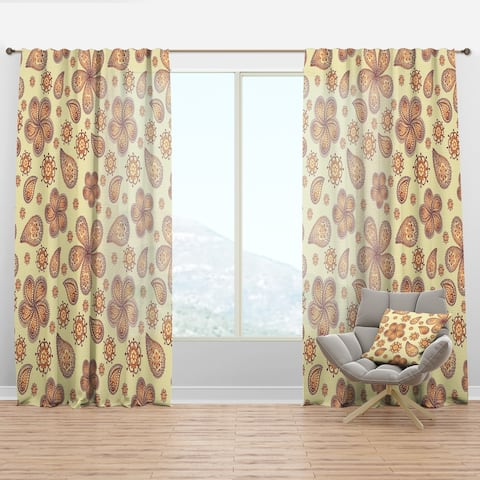 Designart 'Ornamental Colored Floral Pattern with Flowers' Bohemian & Eclectic Curtain Panel