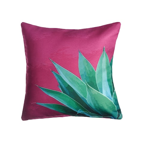 """Tropical Leaves Double Sided Indoor Outdoor Decorative Pillow - Green & Pink (20"""" x 20"""")"""