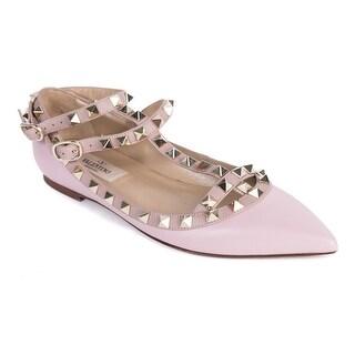 Valentino Pink Leather Rockstud Ballerina Cage Flats