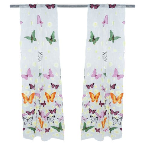 Home Bedroom Polyester Flower Butterfly Print Ornament Window Sheer Curtain