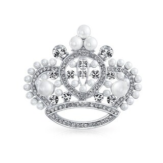 Bling Jewelry White Imitation Pearl Crystal Princess Crown Pin Brooch Rhodium Plated