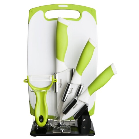 New England Cutlery 84063 6-Piece White Ceramic Knife and Tool Set, Green