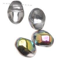Czech Pressed Glass - Petal Shaped Beads 8x6mm 'Crystal Vitrail' (25)