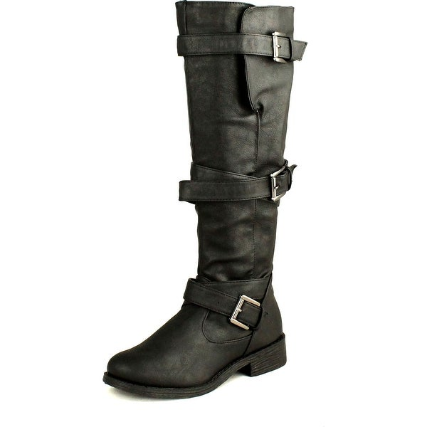 Bamboo Womens Jagger-06A Strappy Knee High Zip Up Riding Faux Wooden Thick Heel Boots
