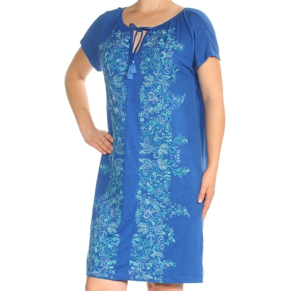 0733ec33cce Shop TOMMY BAHAMA Womens Blue Embroidered Short Sleeve Keyhole Above The  Knee Shift Dress Size  M - On Sale - Free Shipping On Orders Over  45 -  Overstock - ...
